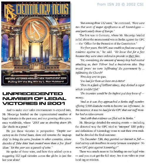"International Scientology News: ""2001 saw us shooting down SPs Like ducks in a pond"""