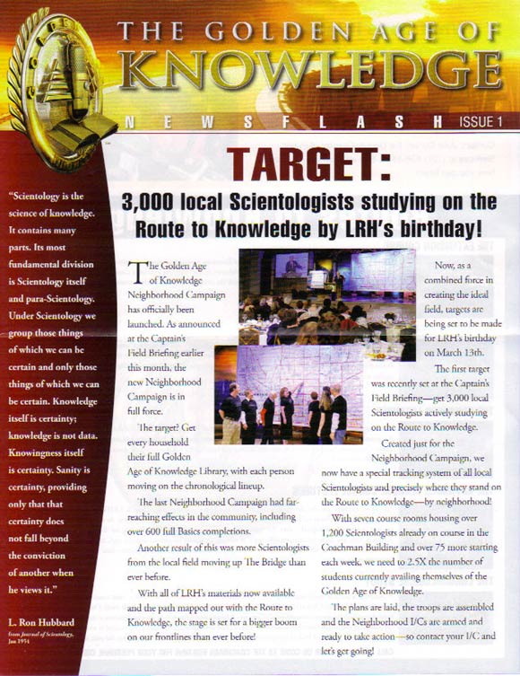 Promo: Target: 3000 local Scientologists studying on the Route to Knowledge by LRH's Birthday!
